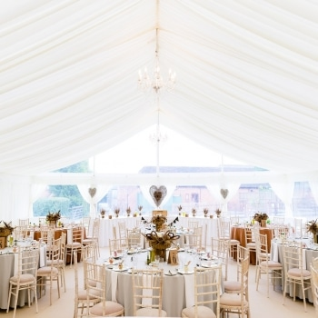 White wedding marquee interior
