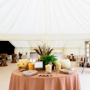 Wedding marquee white and bronze decor