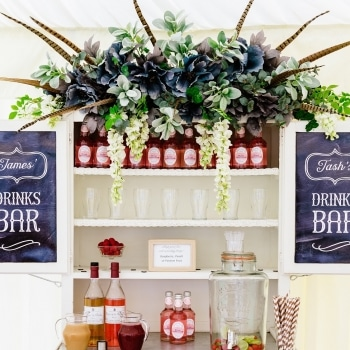 Wedding marquee drinks bar