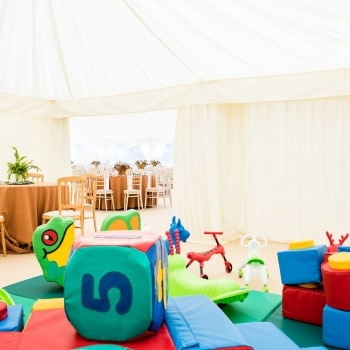 Wedding marquee soft play area