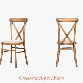 Cross backed chairs wedding marquee