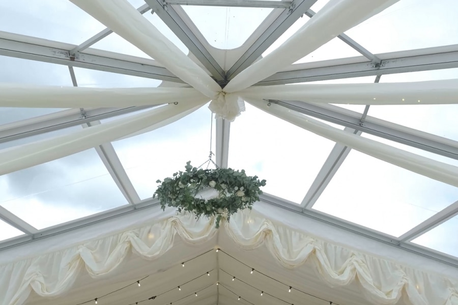 Rustic Wedding Marquee with Clear Roof Hex End