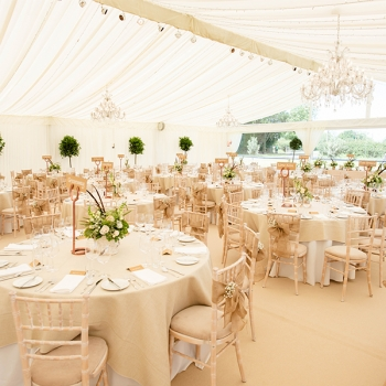 Ivory pleated marquee lining