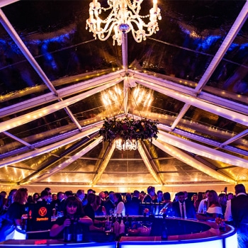 Clear roof wedding marquee at night