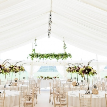 White wedding marquee interior