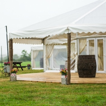Country wedding marquee exterior