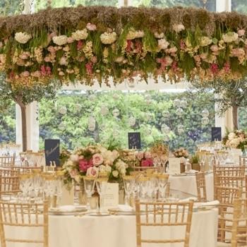 Beautiful flower decor inside marquee