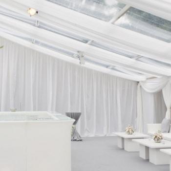 White wedding bar inside marquee