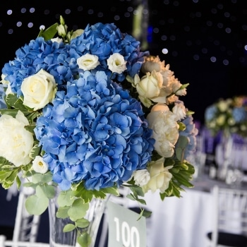 Blue table flowers