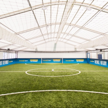 Lucozade event marquee with football pitch