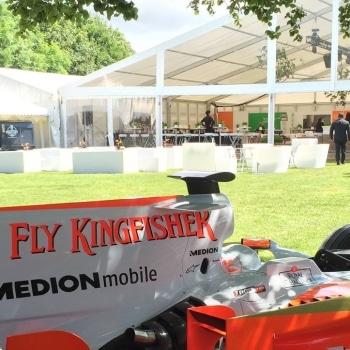 Force India Formula 1 car outside marquee