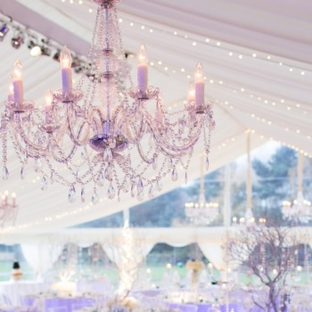 Beautiful wedding chandelier and marquee