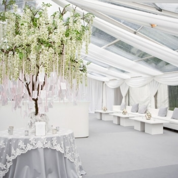 Beautiful wedding marquee with real tree details