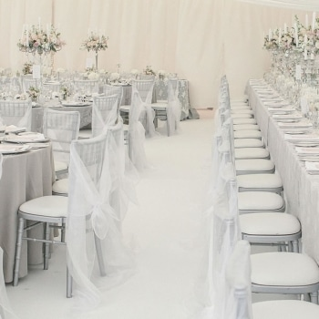 Luxurious weding marquee table settings