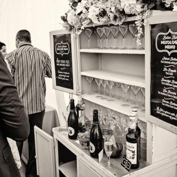 Wedding marquee drinks bar