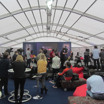 We designed a 15m x 25m marquee structure with hard ABS walls that had suitable acoustics