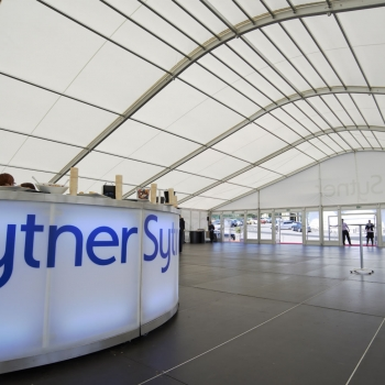 The catering area in the marquee was assembled in the structure for the caterers to work comfortably