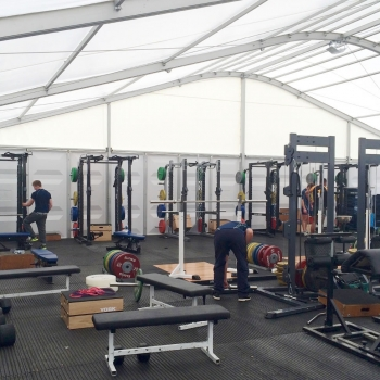 Worcester Warriors Gym in a Fews Marquee