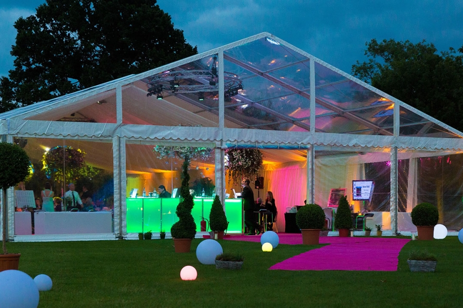 Warwick School Summer Ball marquee at night