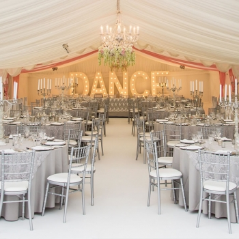 Wedding marquee with stunning decor